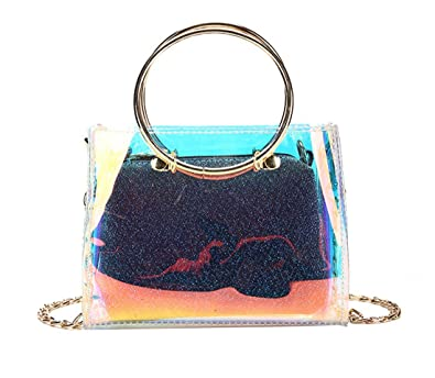 7c30df2b1f54 Image Unavailable. Image not available for. Color  Womens 2 in 1 Hologram  Clear Crossbody Purse Mini Holographic Transparent Tote ...