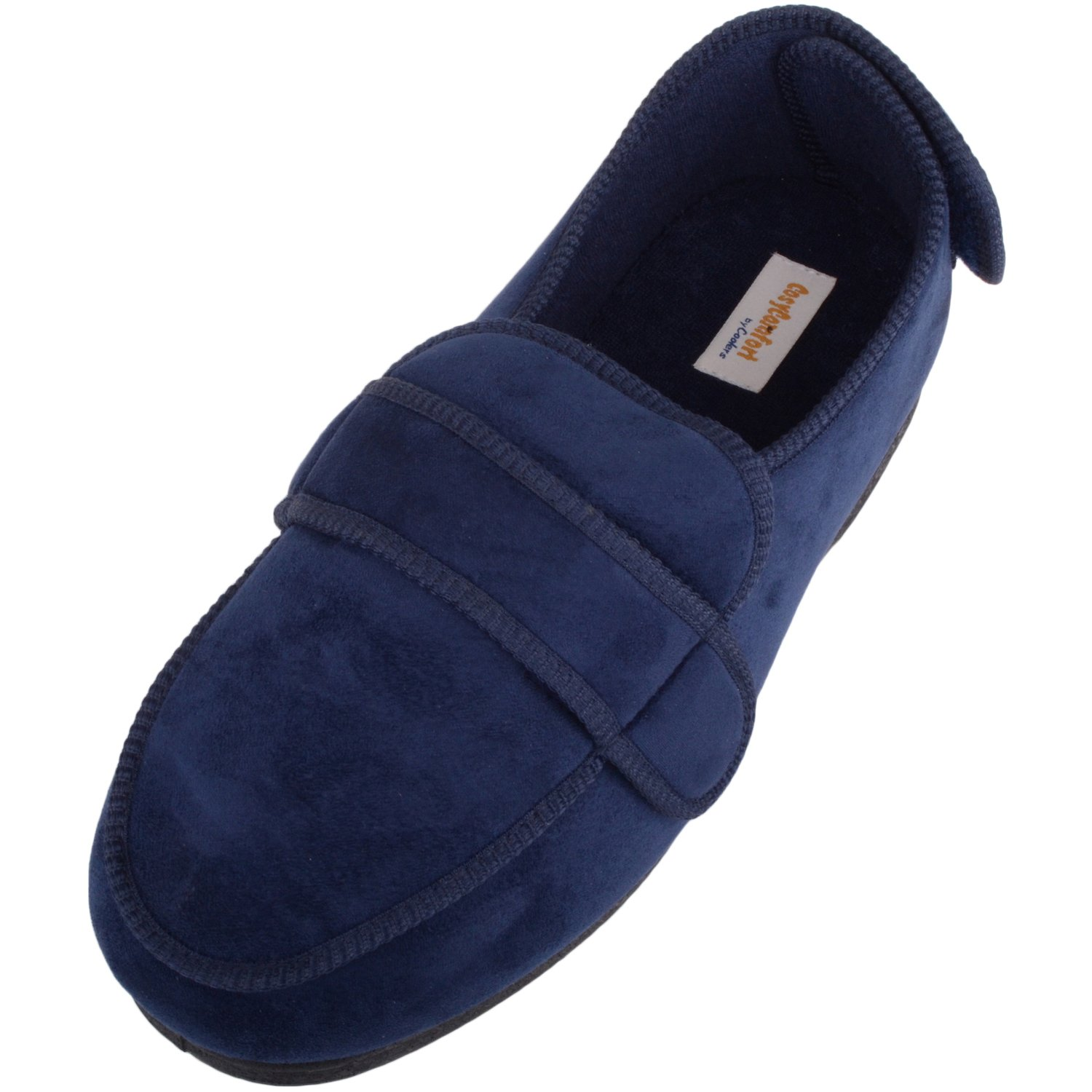 ABSOLUTE FOOTWEAR Mens Microsuede EEE Wide Fitting Slippers/Boots with Ripper Fastening - Navy - US 10