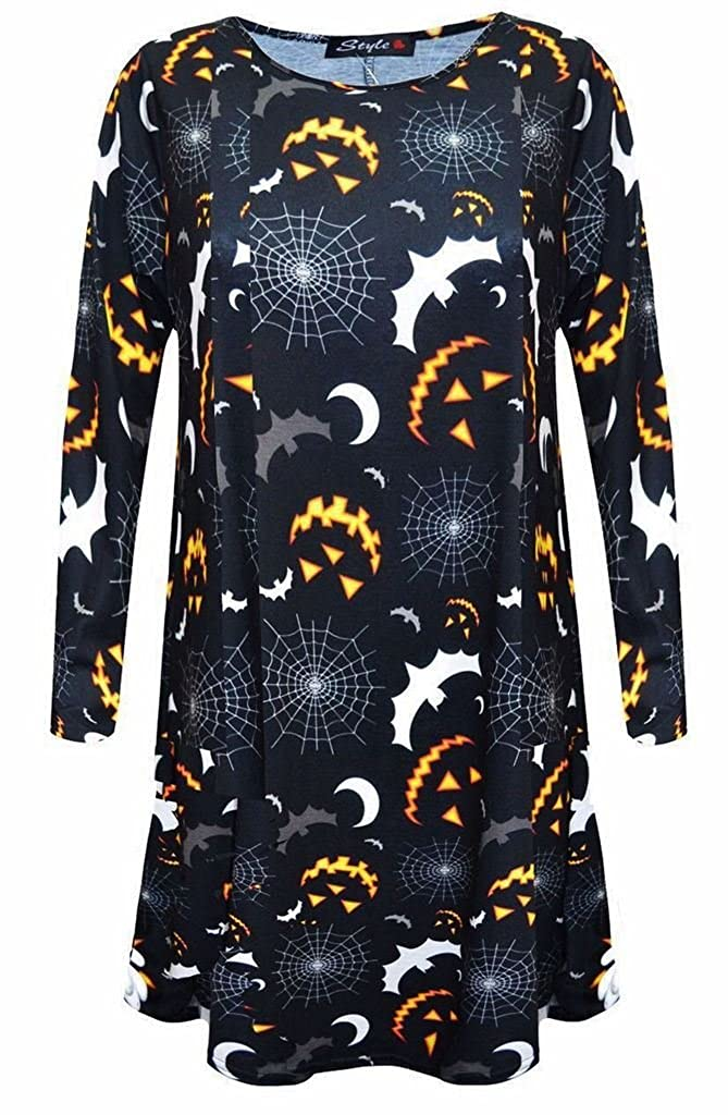 Damenkostüme Womens Pumpkin Skull Rose Halloween Print Cami Jumpsuit Bodycon Swing Dress Top