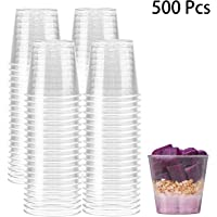 Hedume 500 Pack 1oz Shot Glasses, Disposable Premium Clear Plastic Cups, Perfect Container for Jello Shots, Condiments, Tasting, Sauce, Dipping, Samples