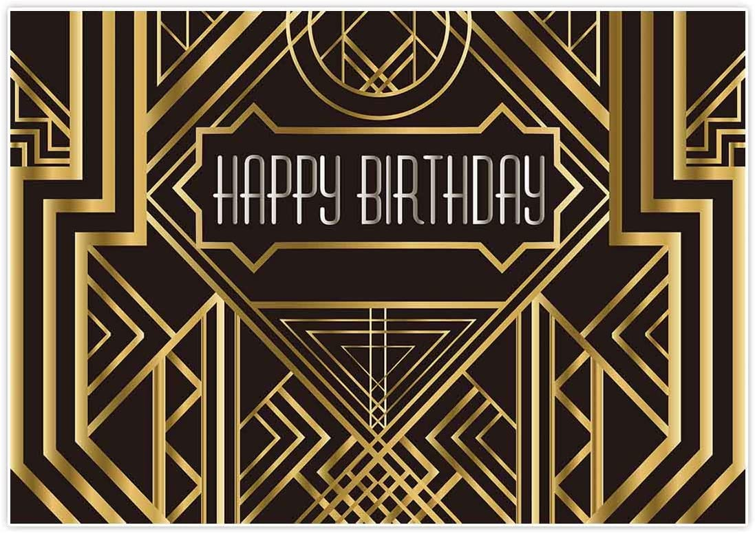 Allenjoy 7x5ft The Great Gatsby Themed Backdrop for Adults Wedding Party Decoration Black and Gold Roaring 20s Art Decor 1920s Happy Birthday Children Supplies Photography Pictures Photo Studio Booth