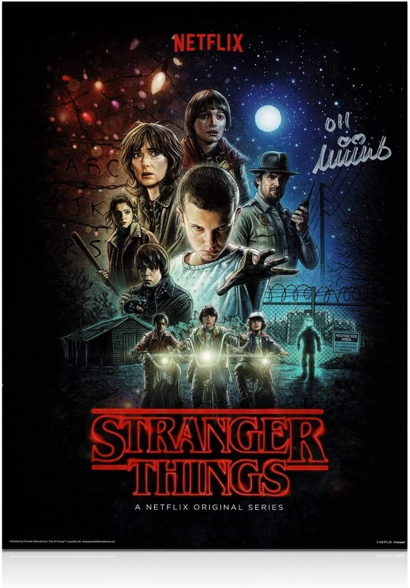 Cartel de Stranger Things firmado por Millie Bobby Brown: Amazon ...