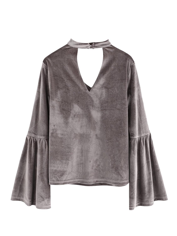 SheIn Women s Casual Choker V Neck Long Bell Sleeve Velvet Top Blouse at  Amazon Women s Clothing store  dd22ba8ad