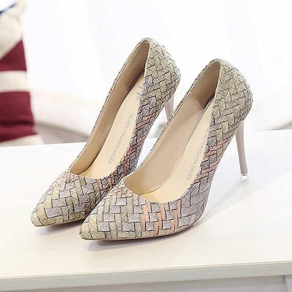 Tacones de mujer Covermason Moda tacones finos Zapatos colores mezclados Tacones bajos Zapatos(39 EU, Beige): Amazon.es: Ropa y accesorios