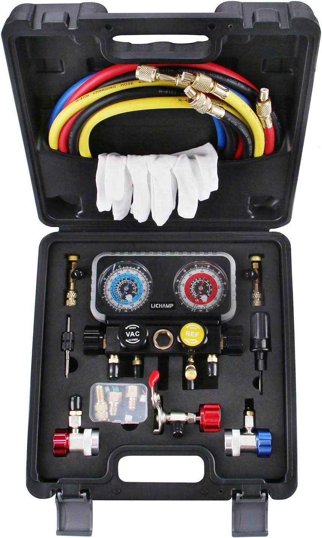 Lichamp HVAC R410A Manifold Gauge Set AC R134A, Freon R22 R32 410A 134A Diagnostic Manifold Gauge with Hose Kit Air Conditioner Refrigerant Recharge Kit