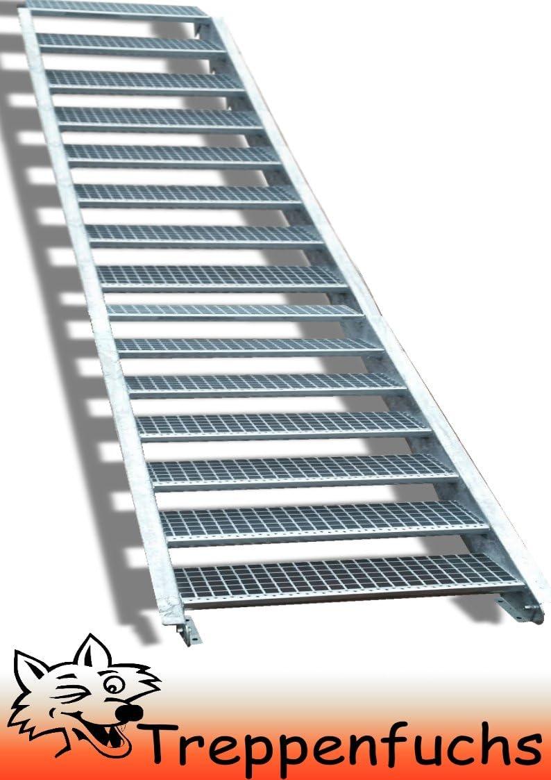 Geschossh/öhe variabel 55-85cm verzinkt Gitterrosttreppenstufen Tiefe 24cm Stahltreppe Industrietreppe Aussentreppe Treppe 4 Stufen//Stufenbreite 120cm