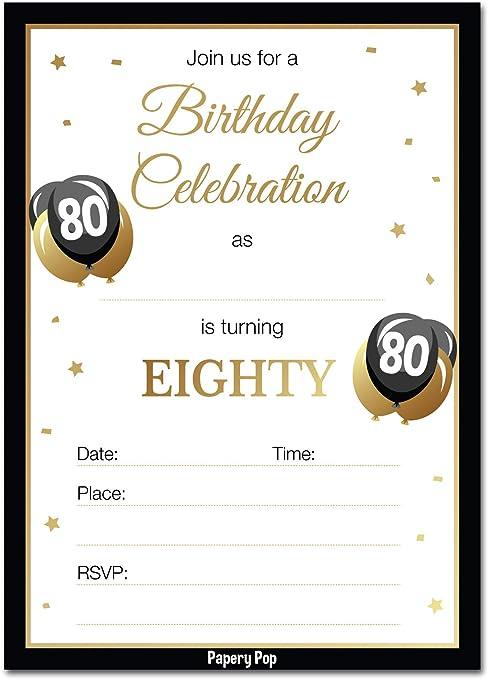 Amazon.com: Invitaciones de cumpleaños 80 con sobres (30 ...