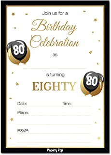 80th Birthday Invitations With Envelopes 30 Pack