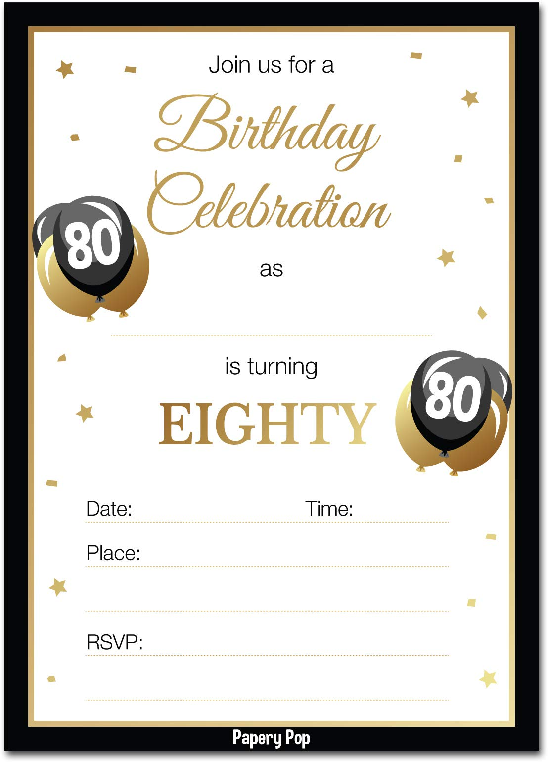 80th Birthday Invitations with Envelopes (30 Pack) - 80 Eighty Year Old Anniversary Party Celebration Invites Cards by Papery Pop