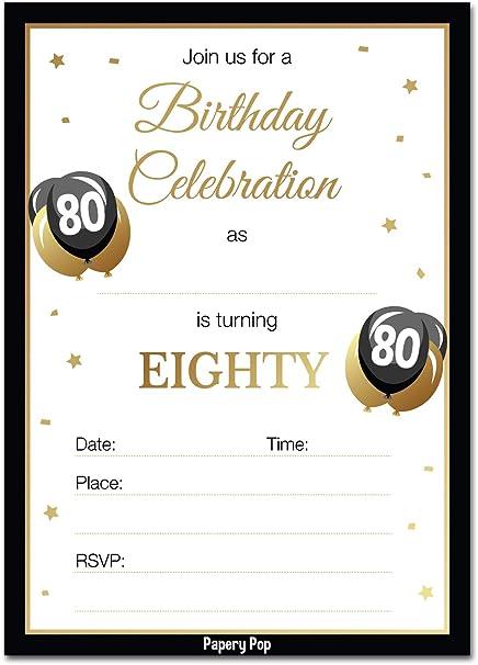 Amazon Com Invitaciones De Cumpleaños 80 Con Sobres 30