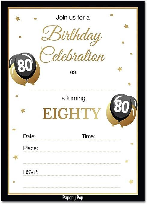 Invitaciones De Cumpleaños 80 Con Sobres 30 Unidades 80