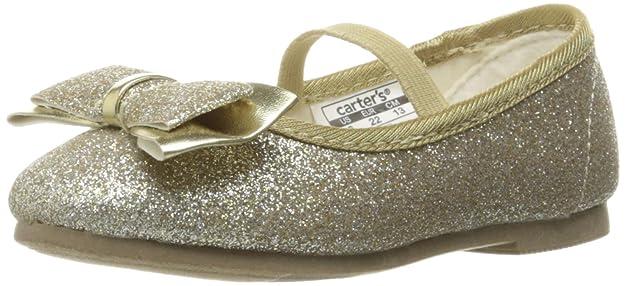 carter's Girls' Bigbow  Flat, Light Gold Glitter, 8 M US Toddler
