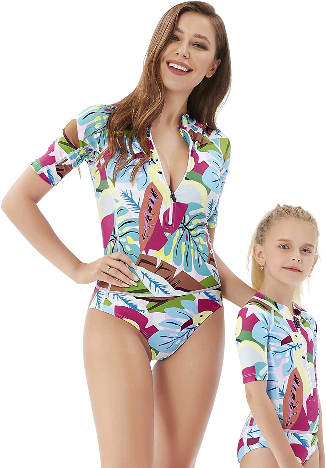YOLIPULI Mother and Daughter Swimwear Family Matching Swimsuit Womens Rashguard Girls Swimwear