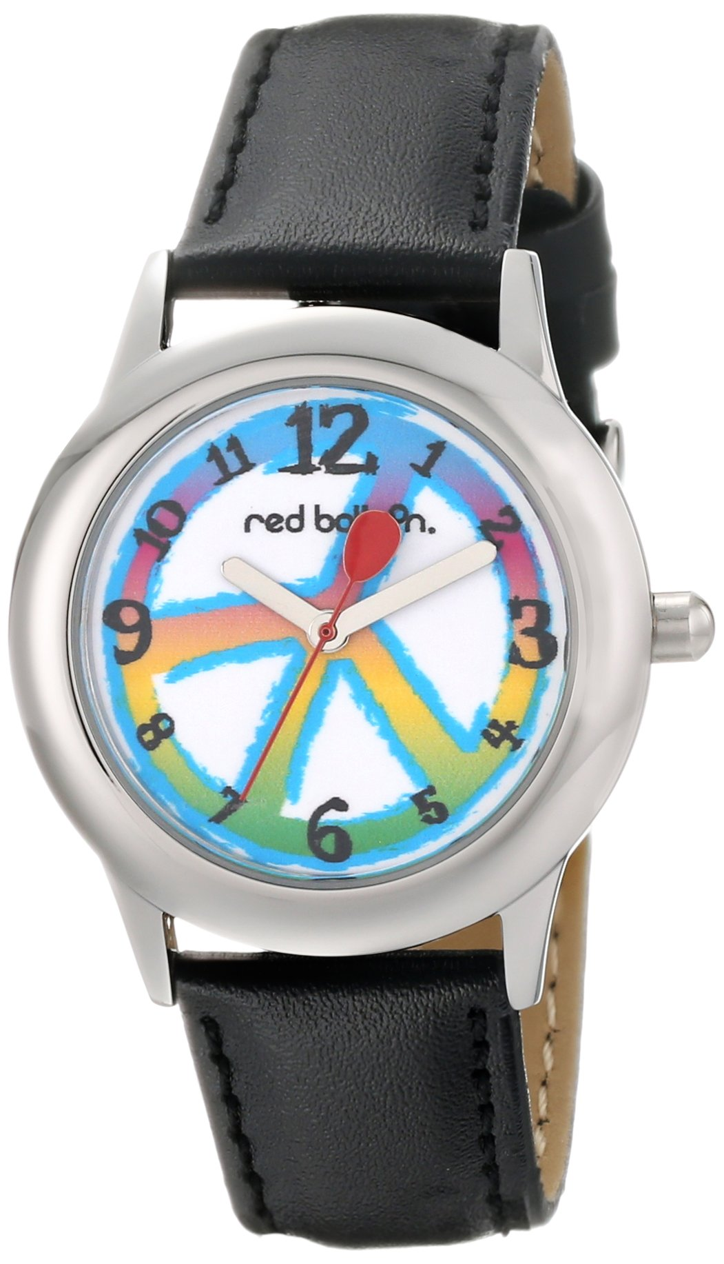 Red Balloon Kids' W000341 Peace Love and Happiness Tween Stainless Steel Black Leather Strap Watch