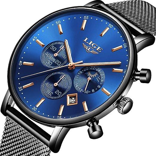 Relojes para Hombres,LIGE Acero Inoxidable Impermeable Reloj Analógico de Cuarzo Cronógrafo Fase Lunar Banda de Malla Milanesa Moda Casual Relojes de ...