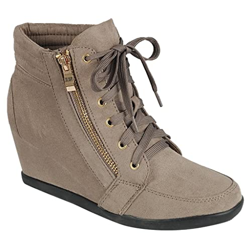 aad9b0664caca8 Women High Top Wedge Heel Sneakers Platform Lace Up Tennis Shoes Ankle  Bootie  Amazon.ca  Shoes   Handbags