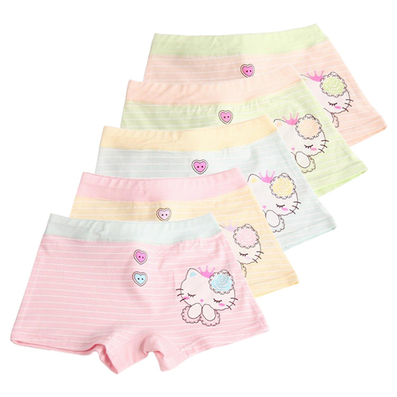 XPX Garment 5 Pacchi Bel Gatto a Strisce Cotone Bambine e Ragazze Mutande Intimo Taglia Bambini 4-12 Anni