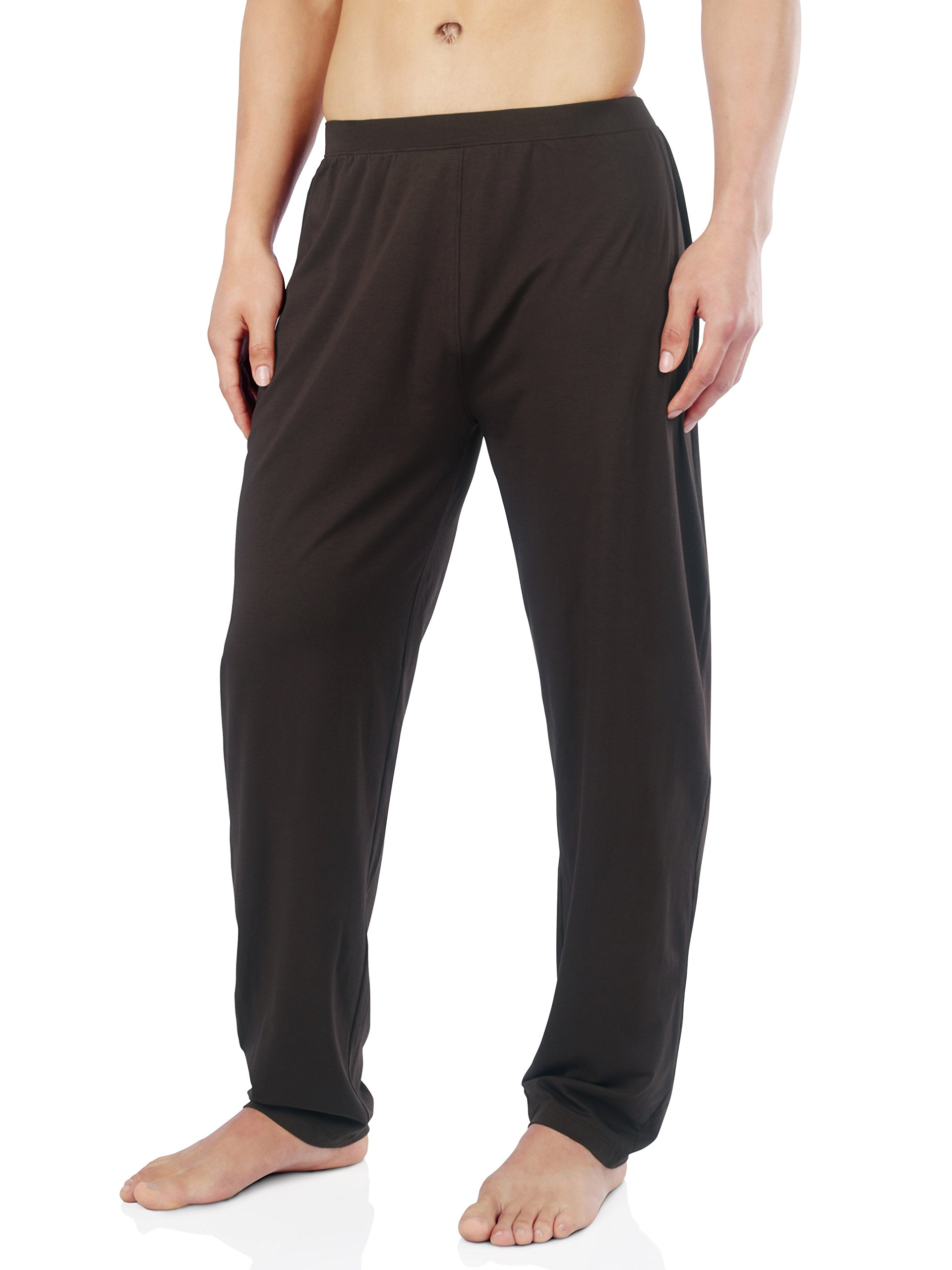 David Archy Men's Soft Cotton Jersey Knit Pajama Pants (M, Brown)