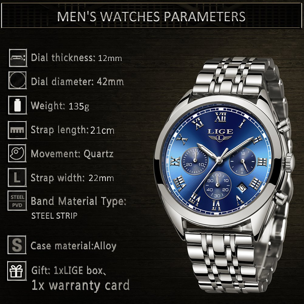 Amazon.com: Luxury LIGE Brand Watches Men Business Analog Quartz Stainless Steel Luminous Waterproof Watch Chronograph Sport Dress Male Watches Silver Blue: ...