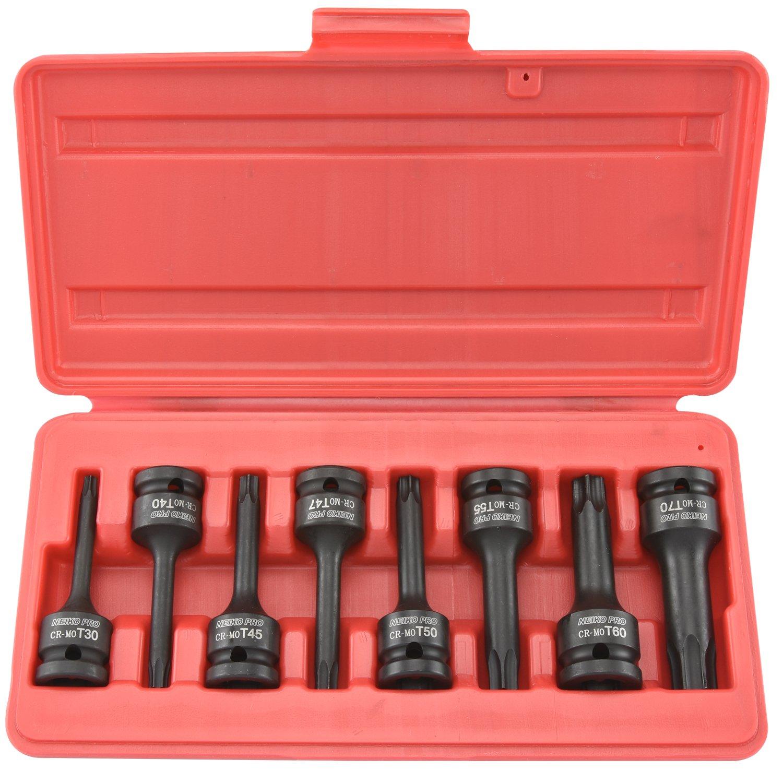 8 Piece Set Ridgerock Tools Inc. Neiko 01138B 1//2 Drive Torx Driver Impact Socket Set Chrome-Molybdenum Steel