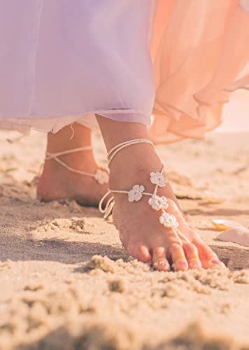 5c1008dce Amazon.com  Flower Girl Barefoot Sandals in Ivory