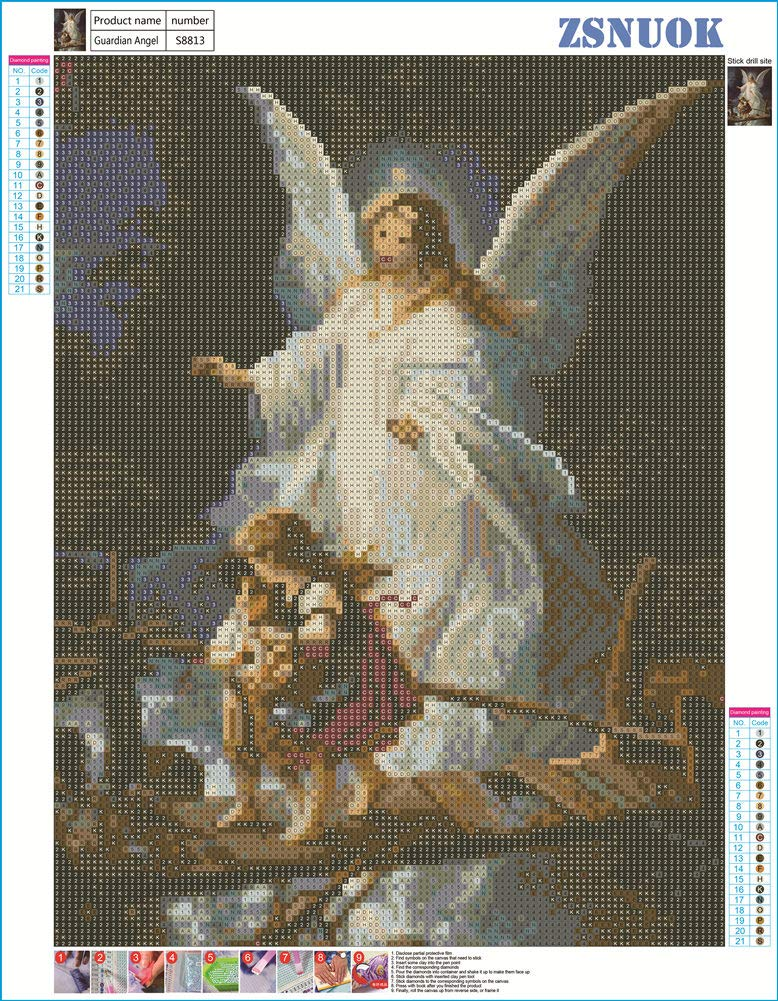 Embroidery Dotz Kits Arts Craft Mosaic Making Cross Stitch for Home Wall Decor Angel of Love 12x16 inches ZSNUOK 5D Diamond Art Kit Full Round Drill for Adults or Kids 5D DIY Diamond Painting Kit