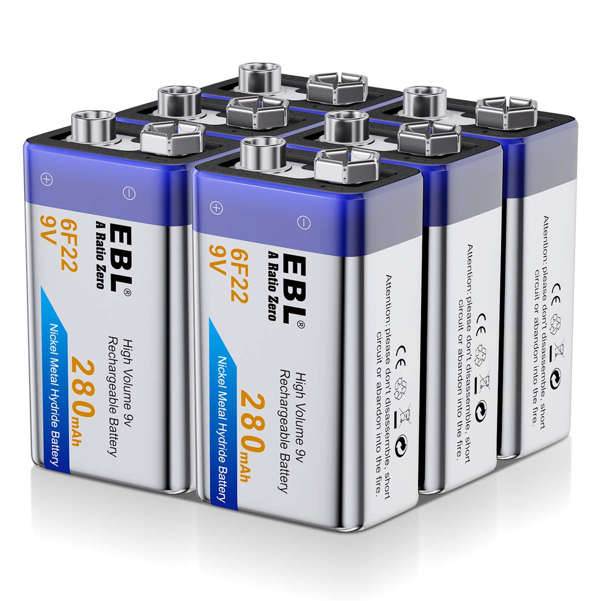 EBL 9 Volt Rechargeable 9V Batteries, 6 Packs 280mAh Ni-MH