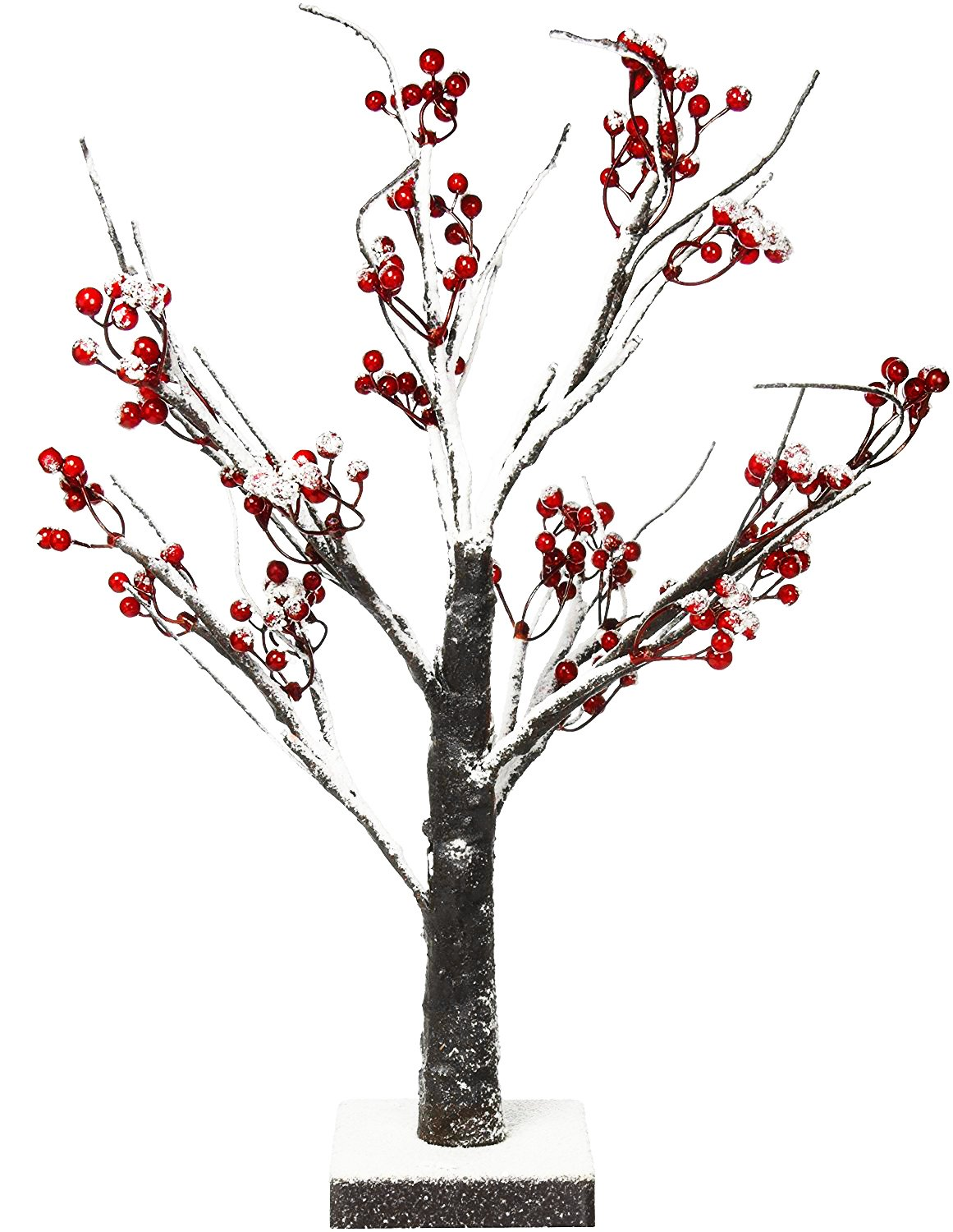 Lightshare Lighted Snow Tree Bonsai with Red Berry E Home International Inc. JGXSTSD24