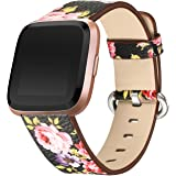 bayite Leather Bands Compatible with Fitbit Versa, Slim Wristband Replacement Accessories Fitness Classic Straps Women Men