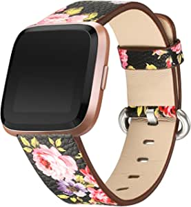bayite Leather Bands Compatible with Fitbit Versa/Fitbit Versa Lite & SE/Fitbit Versa 2, Slim Wristband Replacement Accessories Fitness Classic Straps Women Men