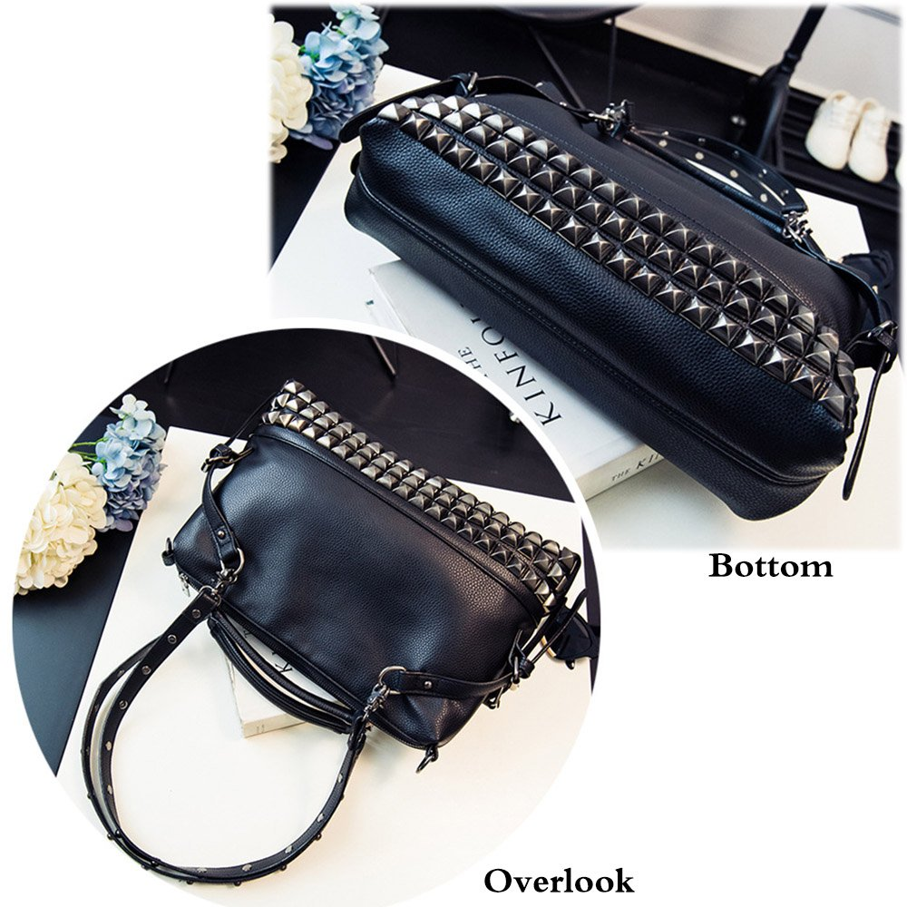 FiveloveTwo Women Middle Size Modern Punk Pu Leather Cross Body Rivet Top-handle Shoulder Bags Hobo Tote Satchel Handbags for Lady Black by FiveloveTwo (Image #4)