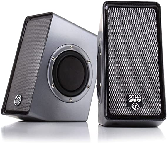 PC Computer USB Powered Speakers w/ 3.5mm AUX Input by GOgroove - SonaVERSE O2 (Black) - 2.0 Channel Dual Passive Bass Woofers