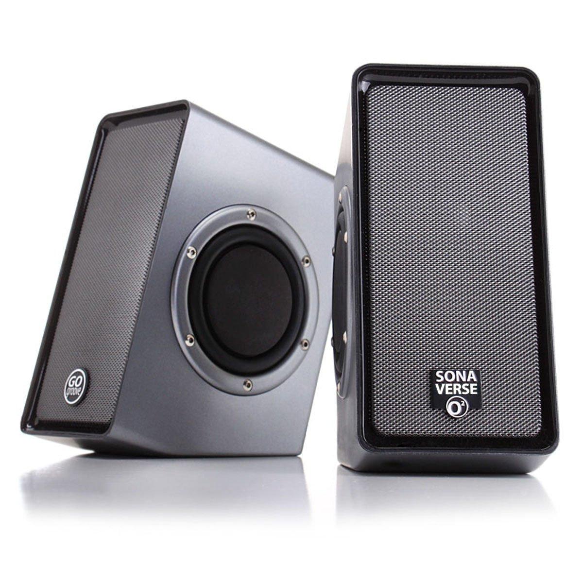 GOgroove Computer Lautsprecher Set SonaWAVE O2: 2.0 USB Stereo Lautsprecher mit passiven Woofern, Schwarz Accessory Power FBA_GG-SONAWAVE-O2