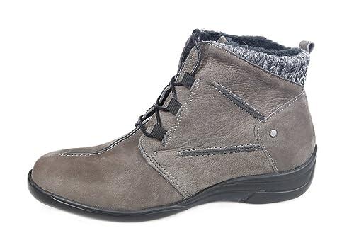 Botines Mujer para Plantillas extraibles Color Gris con Cordones Ideal para pies delicados y Anchos Especiales