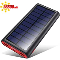 VOOE Cargador Solar 26800mAh Batería Externa, Carga Rápida Solar Power Bank con Nuevo IC de Control Inteligente, 2…