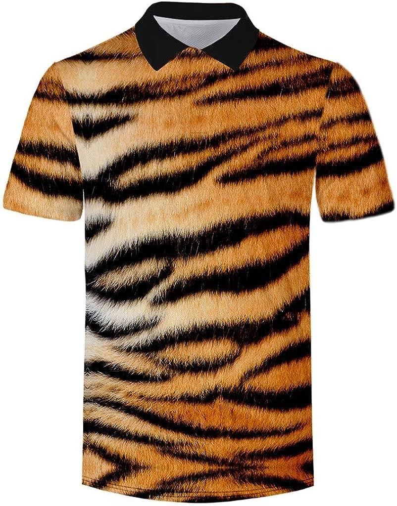 LANSKRLSP CamisasHombre 2020 Camiseta de Manga Corta de Serie de Textura Animal Tendencia del Verano de Los Hombres