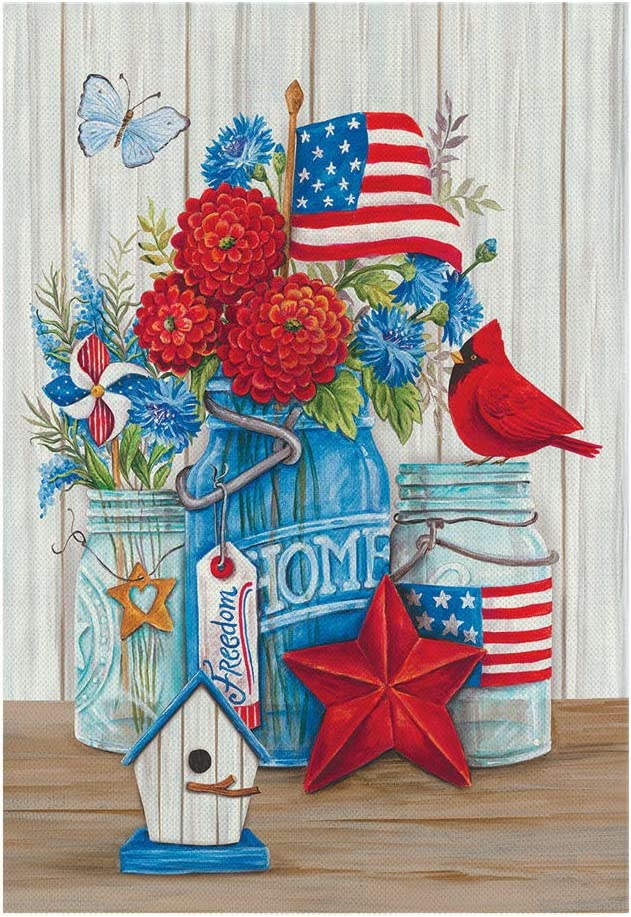MONORD American USA Mason Jars Flowers 4th Fourth of July Garden Flag Vertical Double Sided, Patriotic Floral Cardinal Independence Day Yard Outdoor Decor 12 x 18 Inch