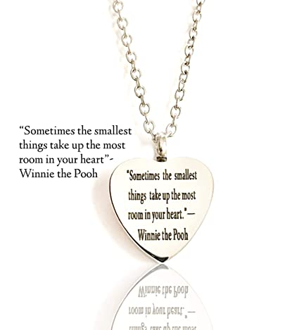 FIKA Beautiful Quotes by Winnie The Pooh Pet Dog Cat Cremation Ashes  Remembrance Urn Pendant Necklace Jewelry Filling Kit Included