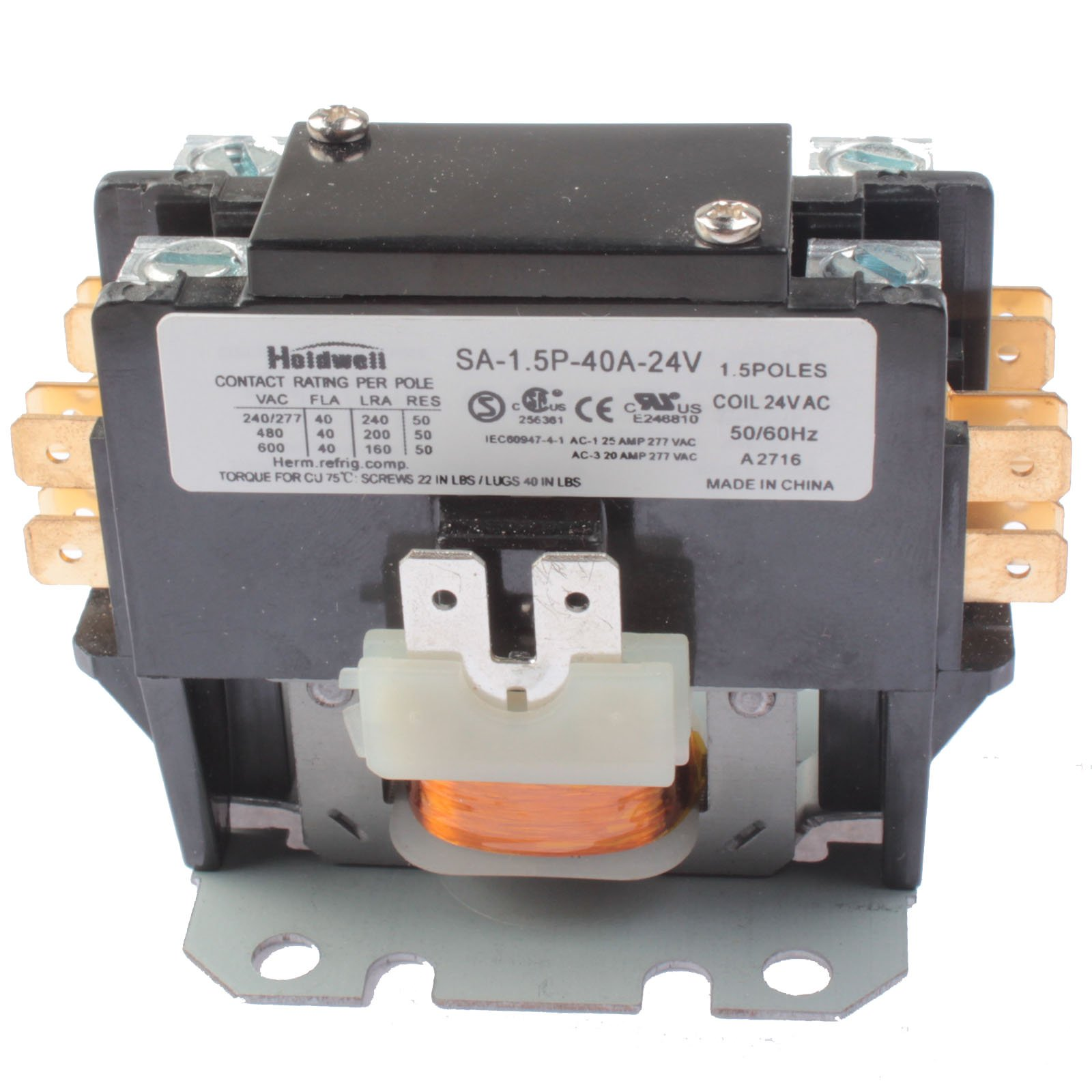 Holdwell SA-1.5P-40A-24V 1 Pole Normally Open Double Make with shunt 40 Amp 24V Coil Definite Purpose Contactor