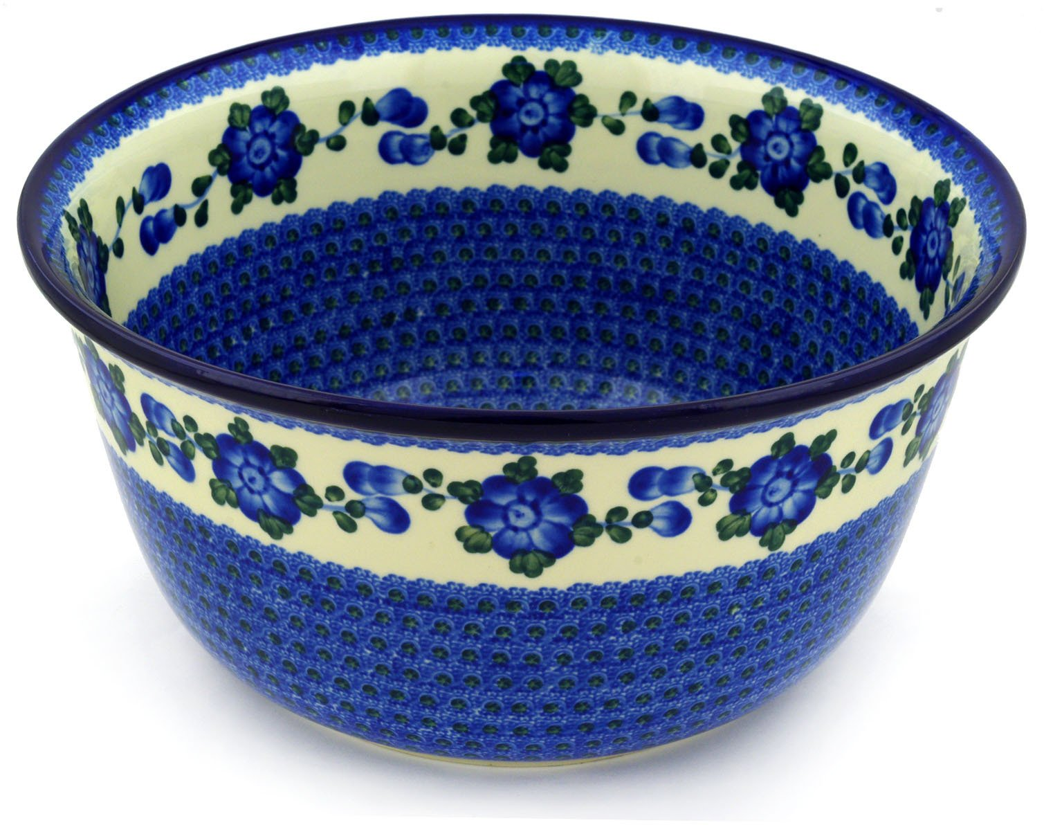 Polish Pottery Bowl 12-inch Blue Poppies