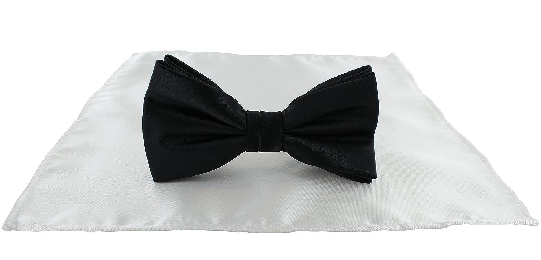 Michelsons of London Corbata de lazo negra y blanca con bolsillo ...