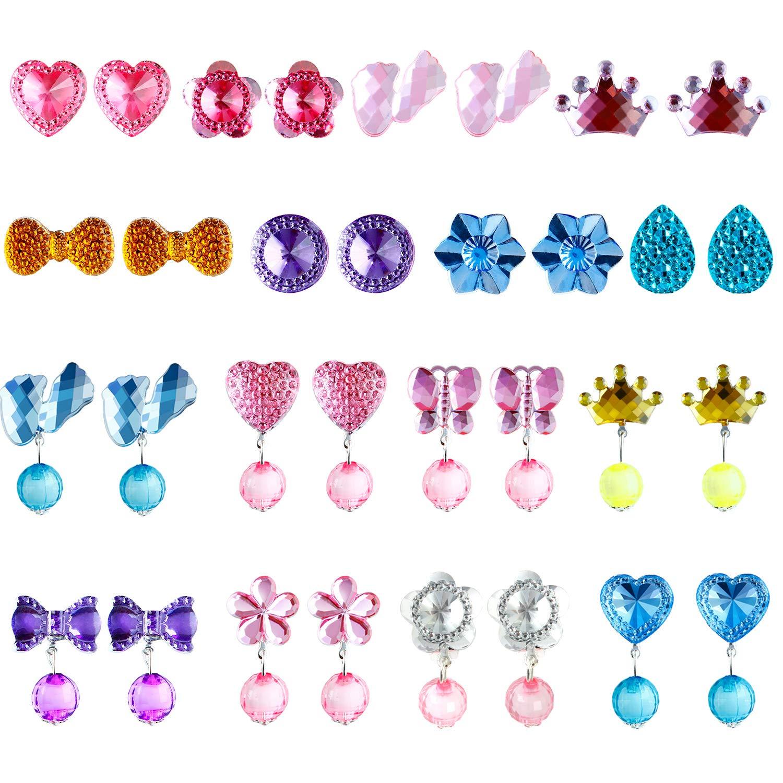 Aneco 16 Pairs Orecchini a forma di ragazza Orecchini a forma di ragazza Orecchini a forma di principessa Set di orecchini per il favore di una festa Confezionato in 2 scatole trasparenti