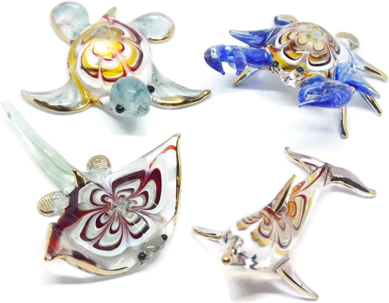 NaCraftTH Aquarium Decorations Glass Figurines Colorful Sea Life Turtle Dolphin Crab Stingray Murano Art Miniture Handicraft Animal Figure Crystal Fish Tank Ornament, Set of 4 (Color May Vary)