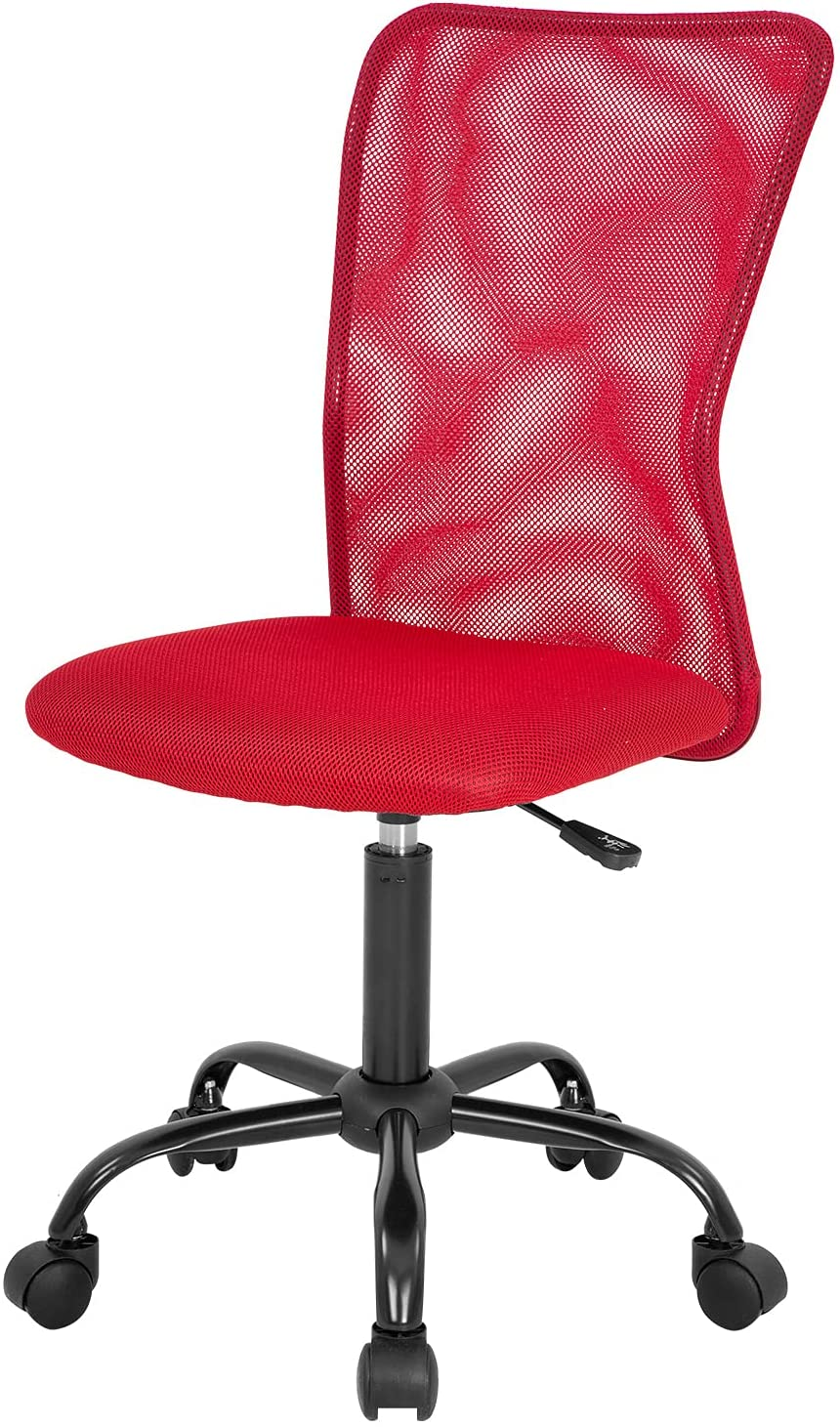 Home Office Chair Mid Back Mesh Desk Chair Armless Computer Chair Ergonomic Task Rolling Swivel Chair Back Support Adjustable Modern Chair with Lumbar Support (Red)