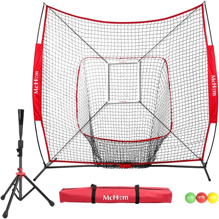 McHom 7 x 7 Baseball Softball Practice Net Set with Travel Tee, 3 Weighted Balls Strike Zone for Hitting, Pitching, Batting Fielding Practice Collapsible and Portable