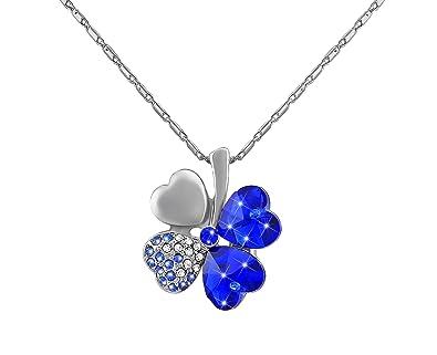 Damen Halskette Modeschmuck Glücksklee Anhänger Strass Geschenk Kleeblatt