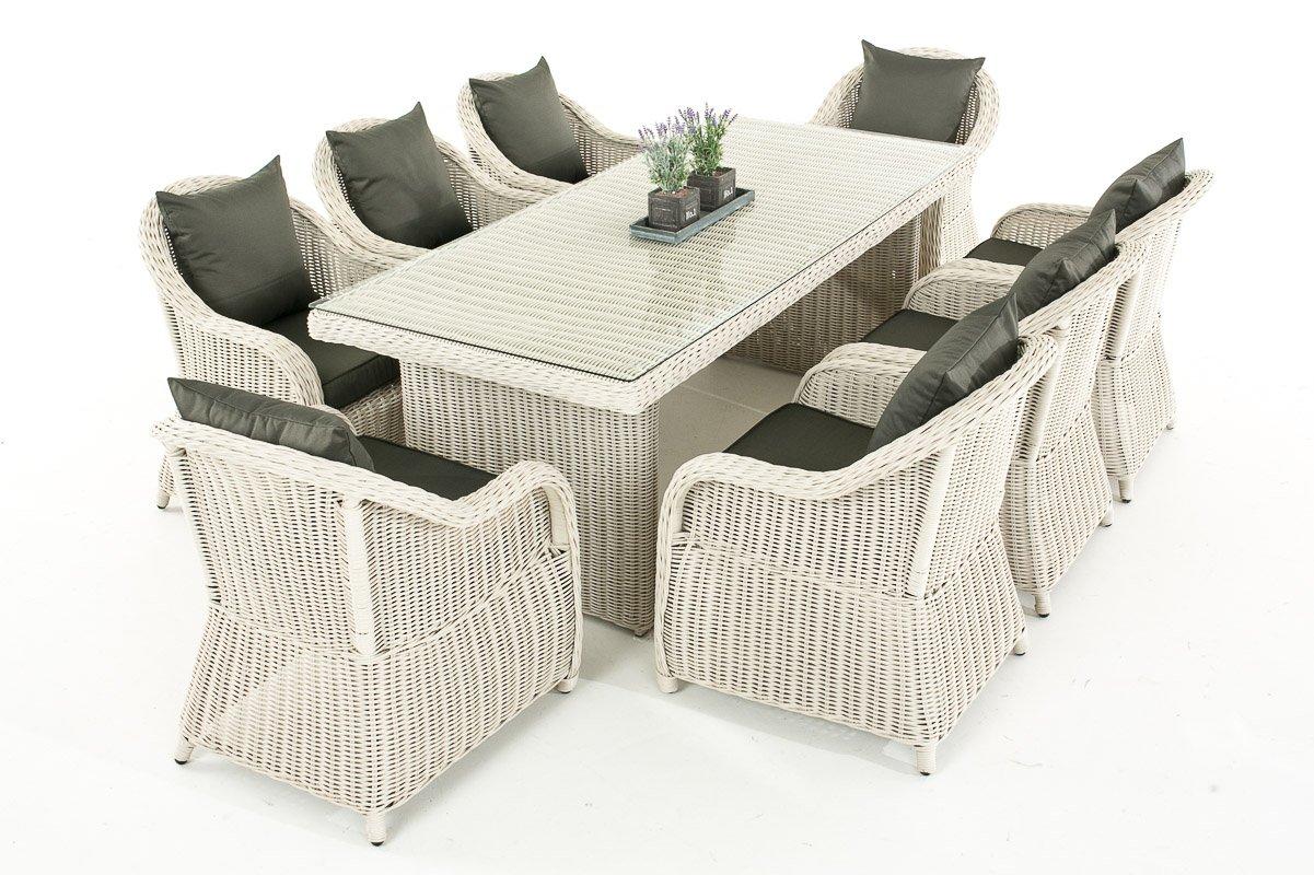 Mendler Garten-Garnitur CP071 XL, Sitzgruppe Lounge-Garnitur Poly-Rattan ~ Kissen anthrazit, perlweiß