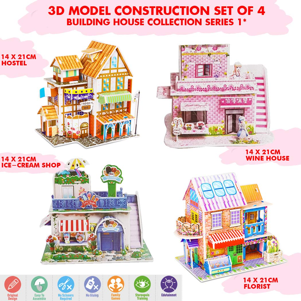 Wine House /& Florist 3D Educational Crafts Model House Kit Collection Series 01 Include Hostel Great DIY Creative Projects for Kids. Ice Cream Shop