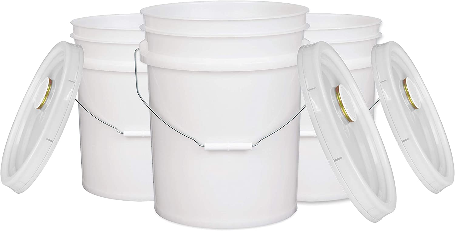 House Naturals 5 Gal White Plastic Buckets Food Grade BPA Free Premium 90 mil pails with Gasket Lids - Pack of 3 - Made in USA