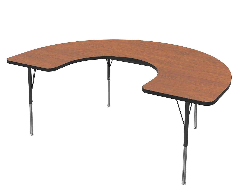 Marco Group MG2227-54-BYEL - Mesa de escritorio ajustable con forma de herradura, 1,22 m de ancho x 1,83 m de largo aproximadamente, gris glaseado, ...